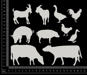Farm Animals Set - B - White Chipboard