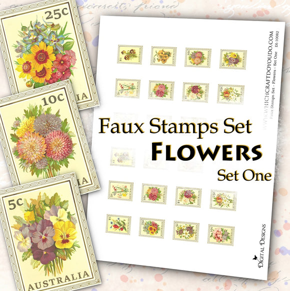 Faux Stamps Set - Flowers - Set One - DI-10082 - Digital Download