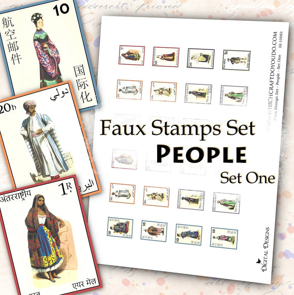 FREEBIE - Faux Stamps Set - People - Set One - DI-10083 - Digital Download
