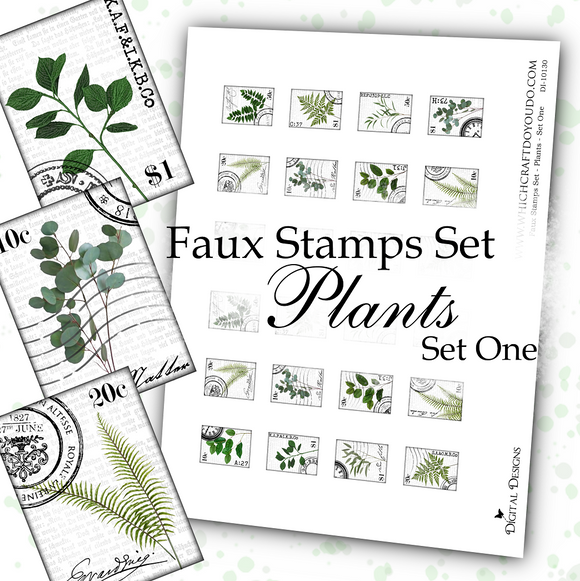 Faux Stamps Set - Plants - Set One - DI-10130 - Digital Download