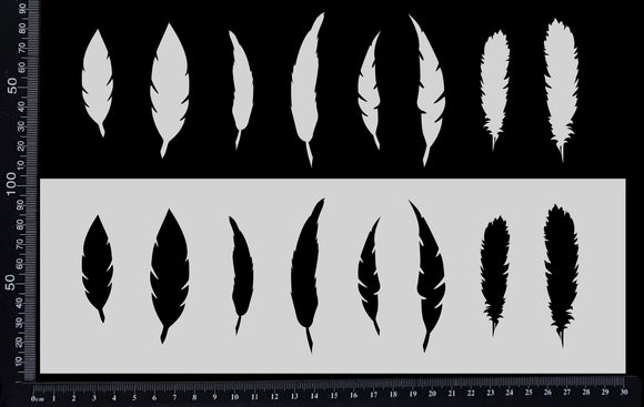 Feathers Row - Stencil - 100mm x 300mm