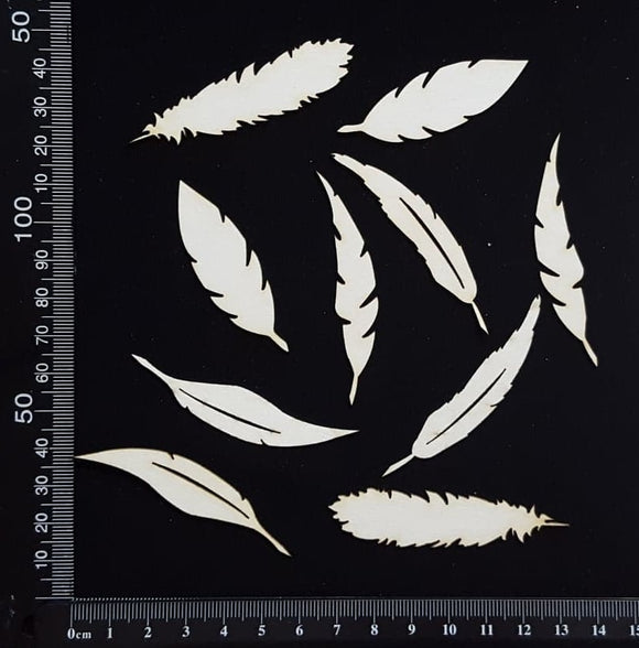 Feathers Set - B - White Chipboard