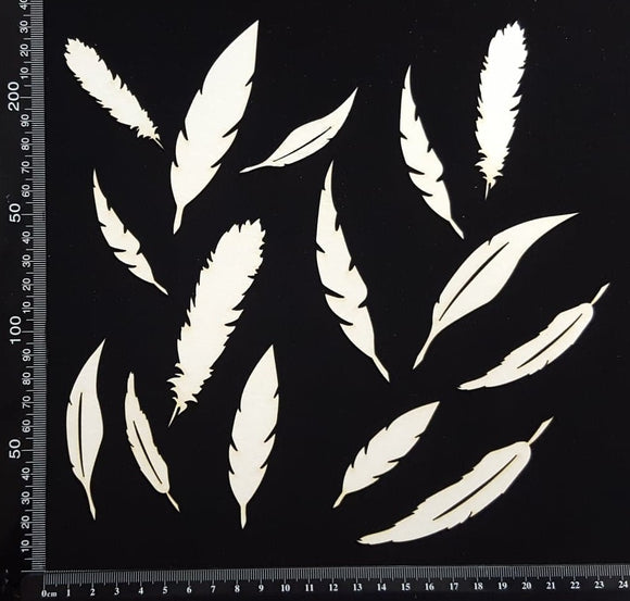 Feathers Set - C - White Chipboard