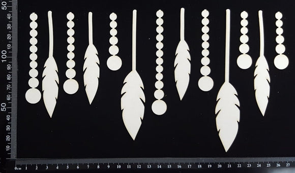 Feathers and Beads Set - A - Large - White Chipboard