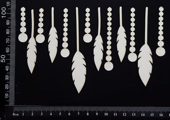 Feathers and Beads Set - B - Small - White Chipboard
