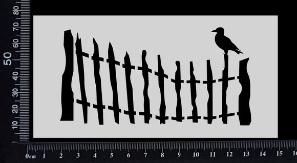 Fence with Sitting Seagull - Stencil - 75mm x 150mm