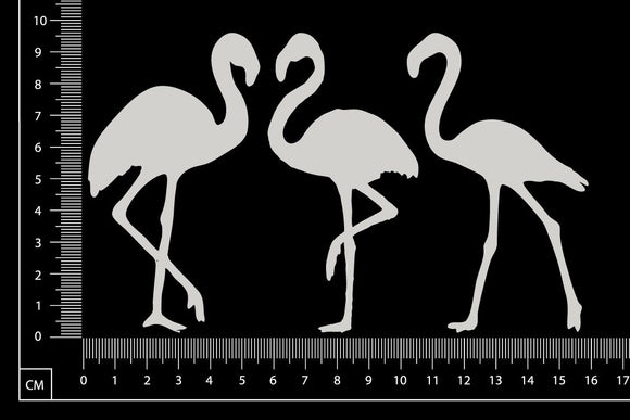 Flamingos Set - White Chipboard