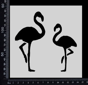 Flamingos - Stencil - 150mm x 150mm