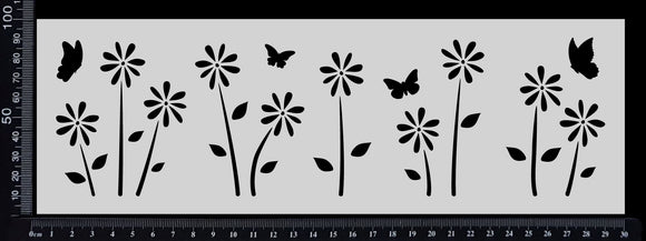 Flower Garden Border - Stencil - 100mm x 300mm