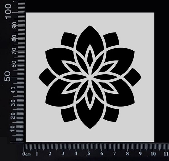 Flower Tile - A - Stencil - 100mm x 100mm