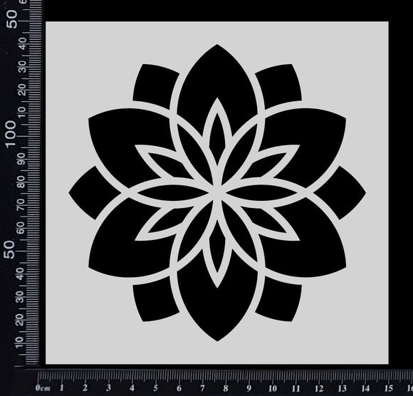 Flower Tile - A - Stencil - 150mm x 150mm