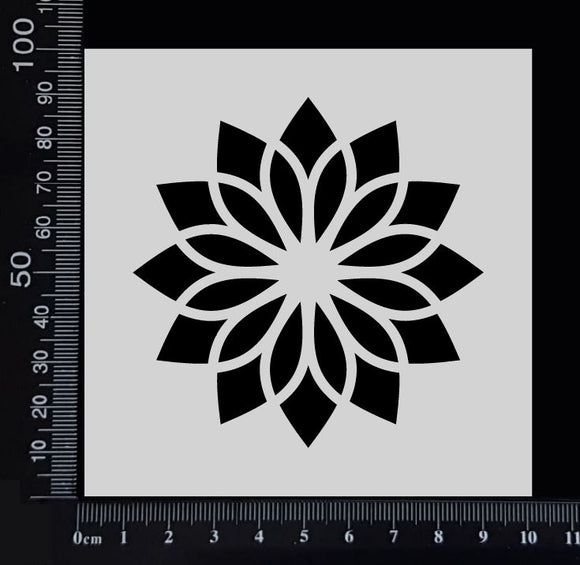 Flower Tile - B - Stencil - 100mm x 100mm