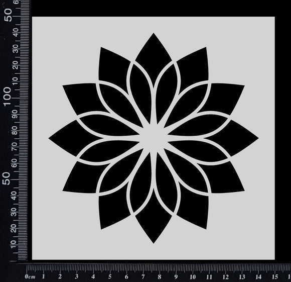 Flower Tile - B - Stencil - 150mm x 150mm