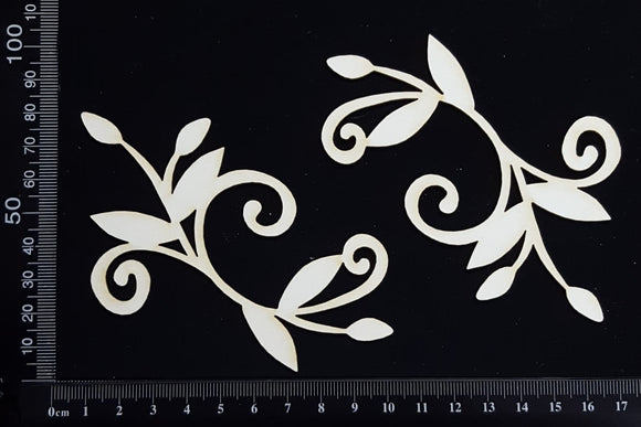 Flower Bud Flourish - B - White Chipboard