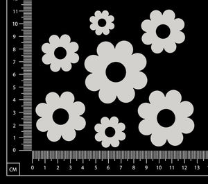 Flowers Set - F - White Chipboard
