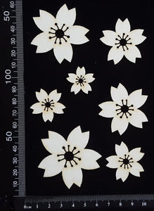 Flowers Set - A - White Chipboard