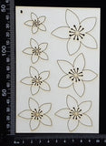 Flowers Set - B - White Chipboard