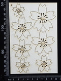 Flowers Set - C - White Chipboard