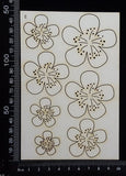 Flowers Set - E - White Chipboard
