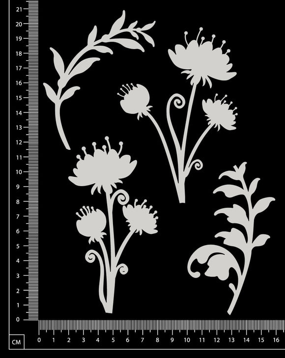 Flowers and Foliage - A - Large - White Chipboard