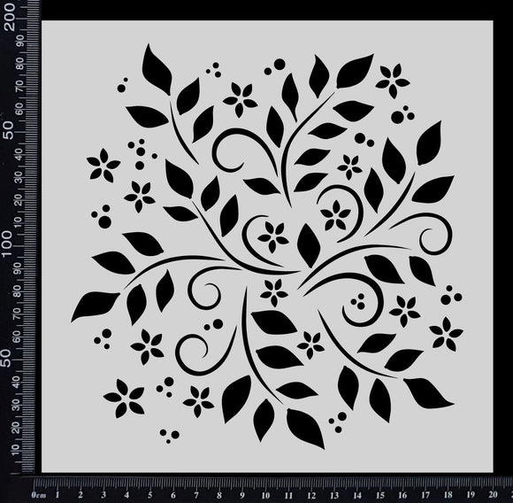 Flowers and Leaves - Stencil - 200mm x 200mm