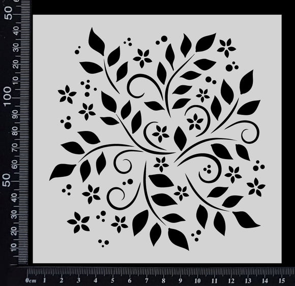 Flowers and Leaves - Stencil - 150mm x 150mm