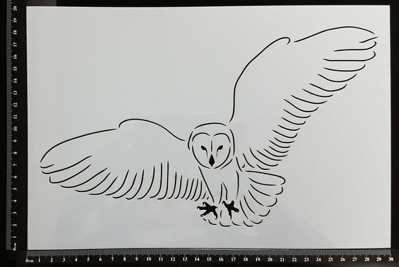 Detailed Flying Owl - Stencil - 200mm x 300mm