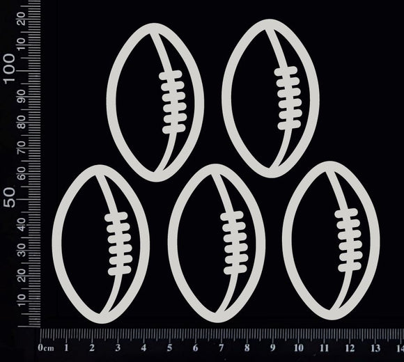 Football/Rugby Balls Set - Medium - White Chipboard