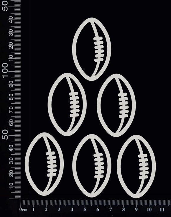Football/Rugby Balls Set - Small - White Chipboard