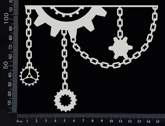 Gear and Chain Border - C - White Chipboard
