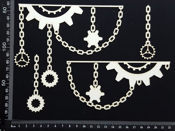 Gear and Chain Borders - A - White Chipboard