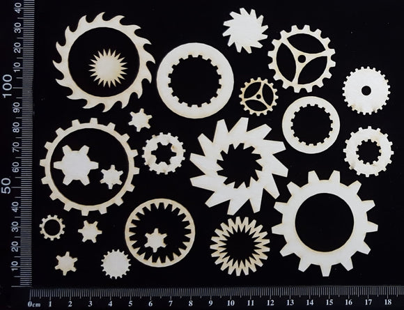 Gears Set - A - White Chipboard
