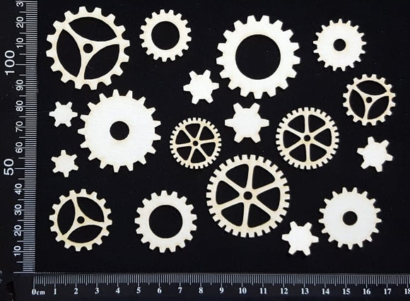 Gears Set - C - White Chipboard