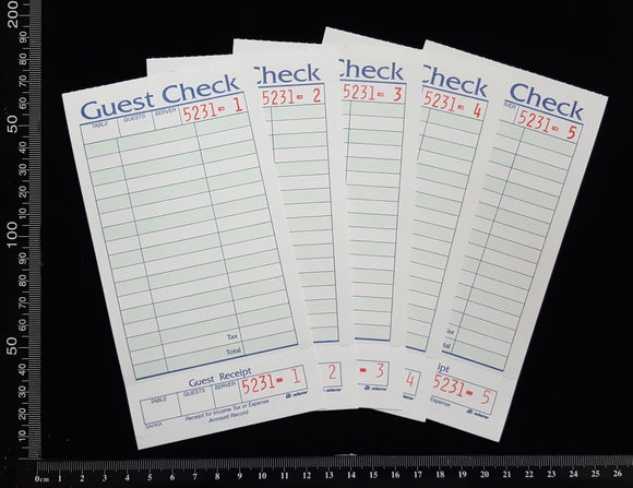 Guest Check Ephemera - A - 5 sheets