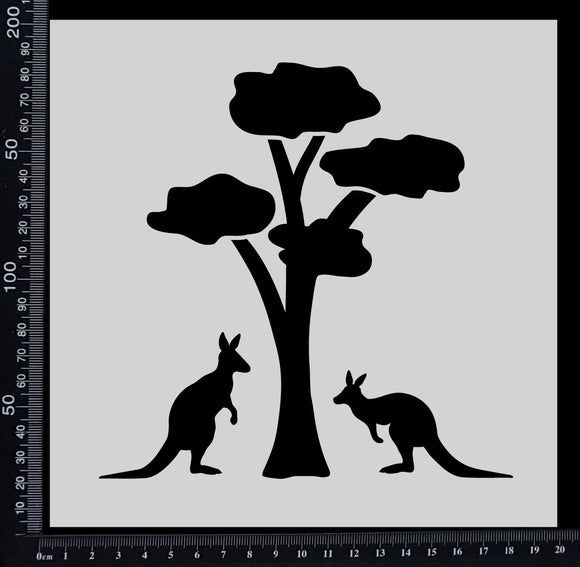 Gum Tree with Kangaroos - Stencil - 200mm x 200mm