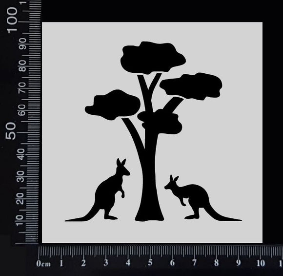 Gum Tree with Kangaroos - Stencil - 100mm x 100mm