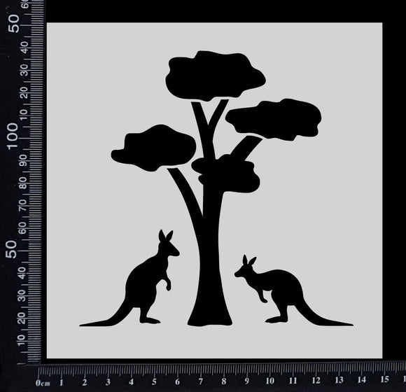 Gum Tree with Kangaroos - Stencil - 150mm x 150mm