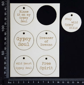 Laser Engraved Gypsy Circle Tags - A - White Chipboard