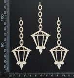 Hanging Lamps Set - B - Small - White Chipboard