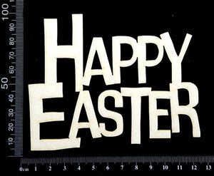 Happy Easter - C - Large - White Chipboard