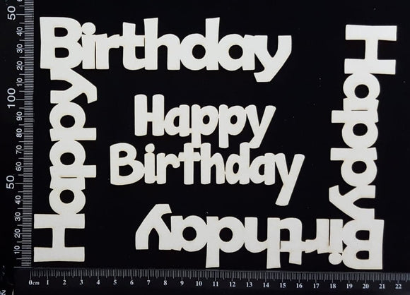 Happy Birthday Corners Set - White Chipboard