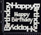 Happy Birthday Frame Set - B - White Chipboard