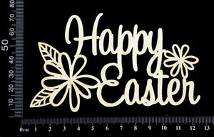 Happy Easter - B - White Chipboard