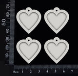Heart Charms - White Chipboard