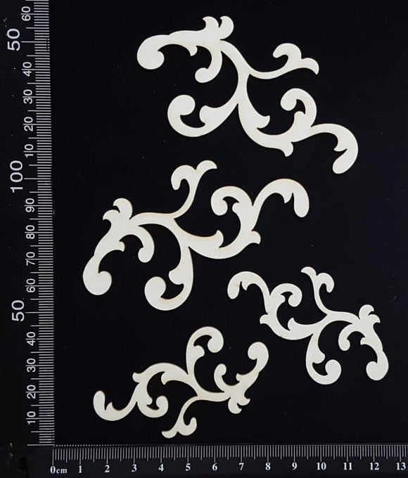 Heather Flourish Set - White Chipboard