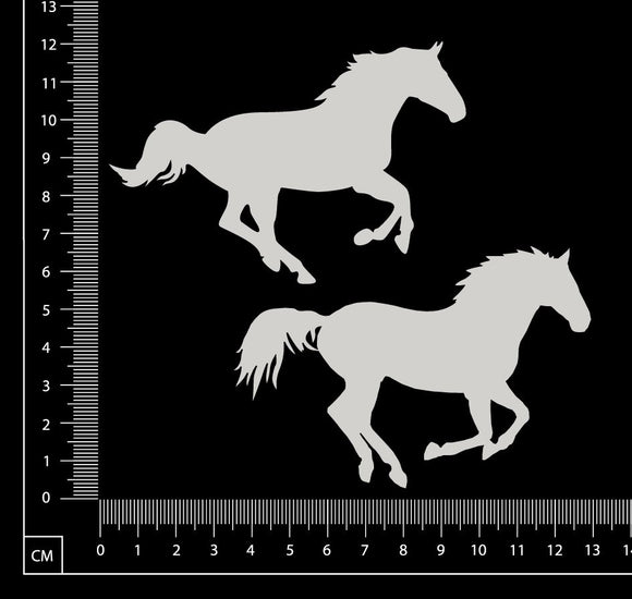Horse Set - B - White Chipboard