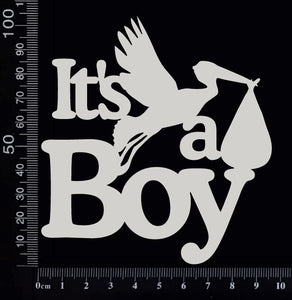 It's a Boy - AA - Large - White Chipboard