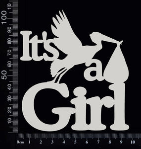 It's a Girl - AA - Large - White Chipboard