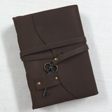 Leather Bound Journal with Key and Deckled Edge Paper
