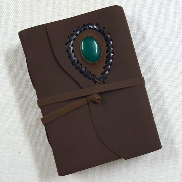 Leather Bound Jade Stone Journal with Handmade Paper